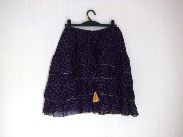 ツモリチサト スカート サイズ2 M レディース美品  ボルドー×ライトブルー
