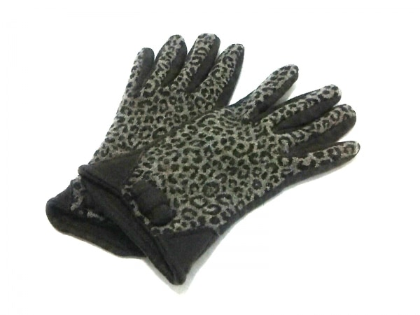 ALPO(アルポ) 手袋 レディース ダークブラウン×グレー×黒 豹柄/リボン ウール