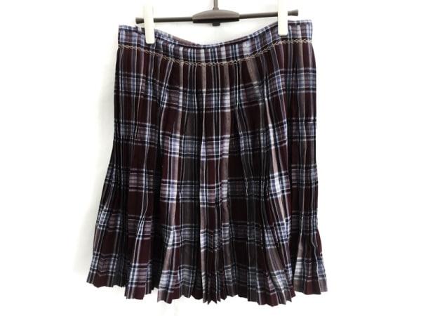 ケイタマルヤマ 巻きスカート サイズM レディース美品  ボルドー×ネイビー×マルチ