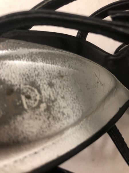 ダイアナ サンダル 22 1/2 レディース 黒 ラインストーン レザー 5