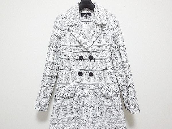 cocon japan(ココンジャパン) コート サイズ6 M レディース 白×黒 春・秋物/刺繍