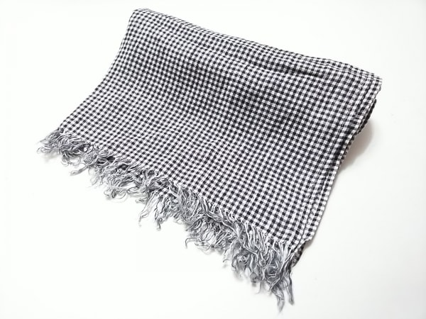 fog linen work(フォグリネンワーク) ストール(ショール) 白×黒 チェック柄 麻