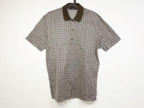Zegna(ゼニア) 半袖ポロシャツ メンズ美品  ブラウン×白