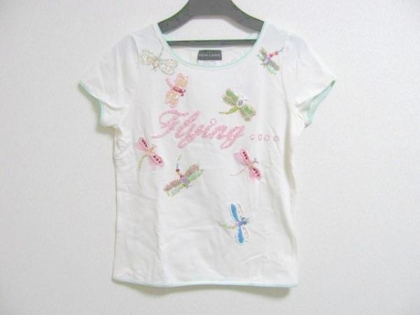レナランゲ 半袖Tシャツ サイズS レディース 白×ピンク×マルチ 蝶/ビーズ