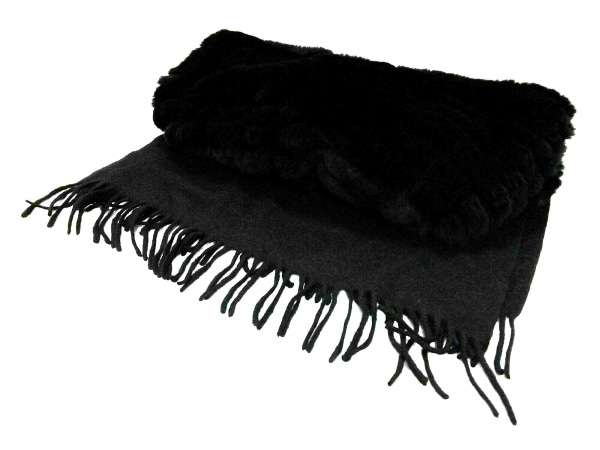 yves salomon(イヴサロモン) マフラー美品  黒 accessoires カシミヤ