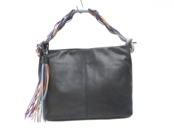 SANPO(サンポー) ハンドバッグ 黒×マルチ レザー×コットン