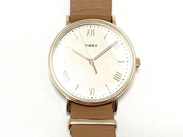 タイメックス 腕時計美品  サウスビュー TW2R28800 ボーイズ 革ベルト アイボリー