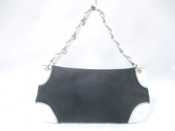 CHANEL(シャネル) ハンドバッグ - 黒×白 チェーンショルダー/ゴールド金具