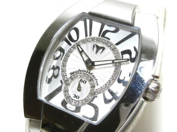 テクノマリーン 腕時計 LR メンズ 革ベルト/37Pダイヤモンド ライトグレー