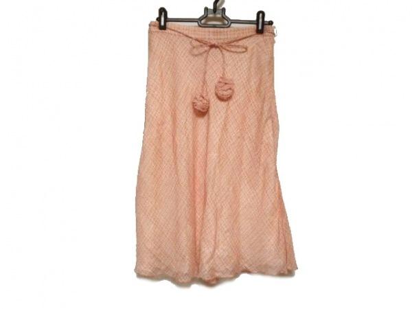 RENA LANGE(レナランゲ) スカート サイズ38(I) S レディース ピンク×アイボリー