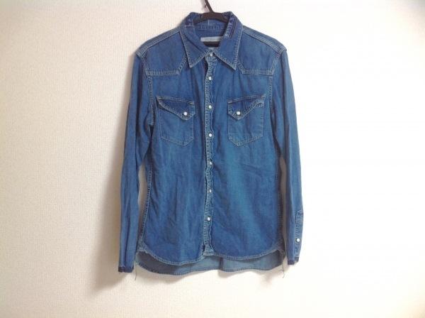 レミ レリーフ 長袖シャツ メンズ ブルー デニム/ダメージ加工/切りっぱなし加工