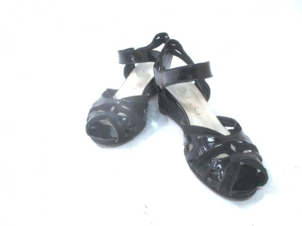 ディッシィ サンダル 22 レディース 黒 ウェッジソール エナメル(レザー)×スエード