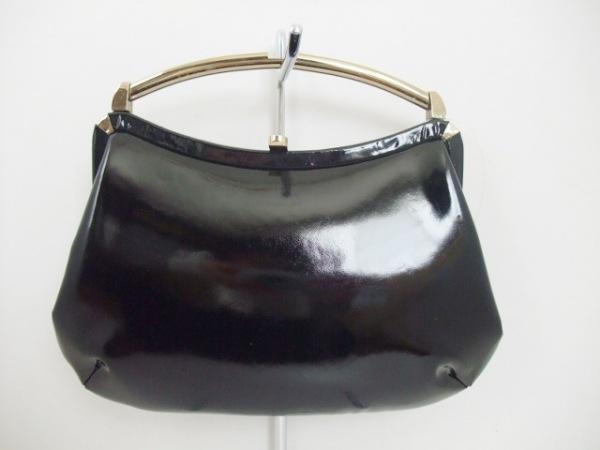 GINZA TANIZAWA(銀座タニザワ) ハンドバッグ 黒×ゴールド がま口 レザー×金属素材