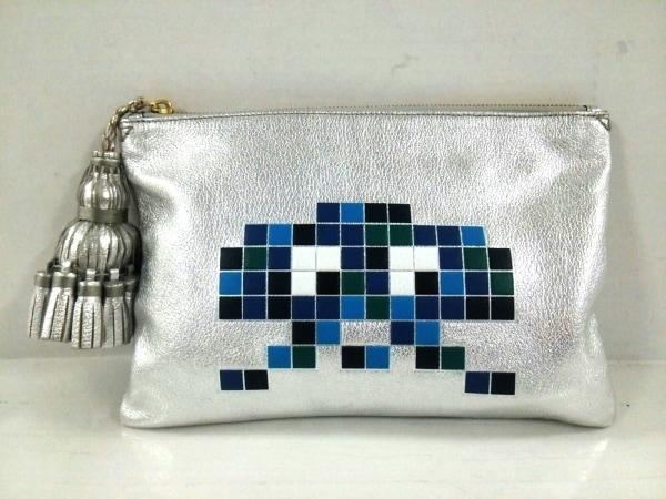 アニヤハインドマーチ クラッチバッグ - シルバー×ブルー×マルチ 1