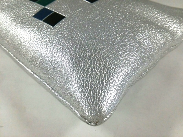 アニヤハインドマーチ クラッチバッグ - シルバー×ブルー×マルチ 4
