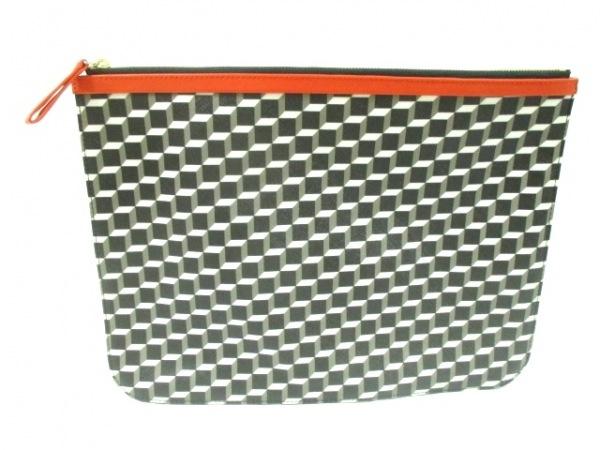 ピエールアルディ クラッチバッグ美品  黒×白×マルチ PVC(塩化ビニール)×レザー