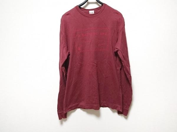 BAPE(ベイプ) 長袖Tシャツ サイズL メンズ ボルドー×レッド