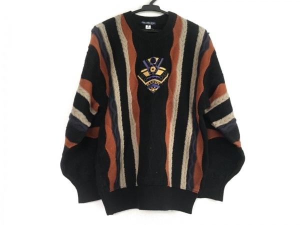 ハーディエイミス 長袖セーター サイズ3 L メンズ 黒×ライトブラウン×マルチ
