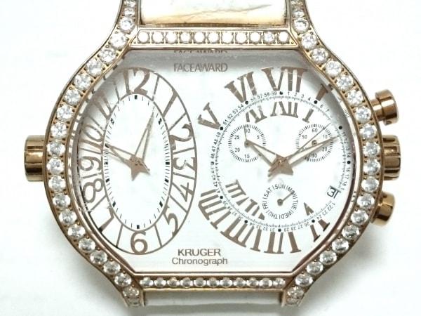 フェイスアワード 腕時計 - レディース 型押し革ベルト/ラインストーンベゼル 白