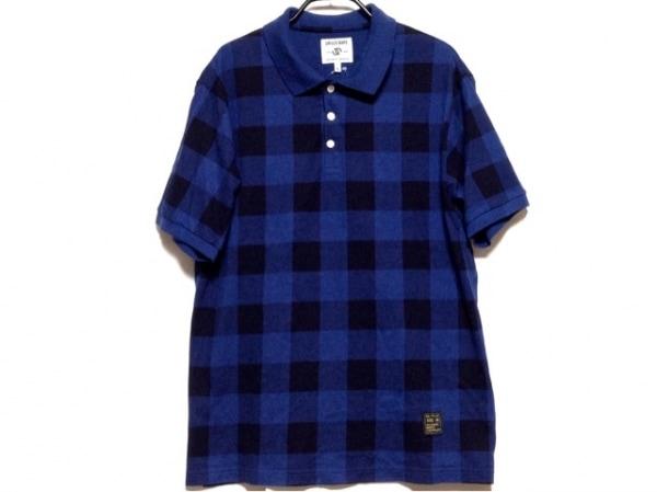 URSUS BAPE(アーサスベイプ) 半袖ポロシャツ サイズXL メンズ ブルー×黒 チェック柄