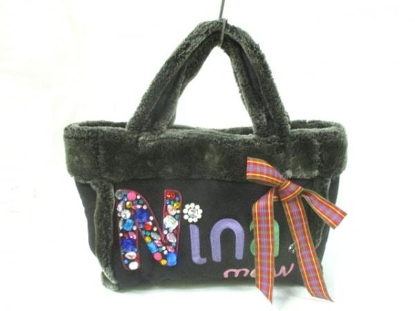 ニーナミュウ トートバッグ 黒×ピンク×マルチ ビジュー ムートン×化学繊維
