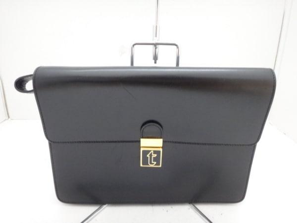 a.testoni(ア・テストーニ) セカンドバッグ 黒×ゴールド レザー