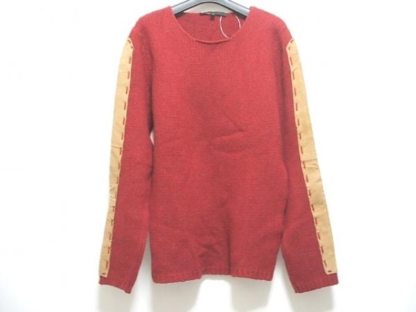 アレッサンドロデラクア 長袖セーター サイズ46 XL レディース ボルドー×ベージュ