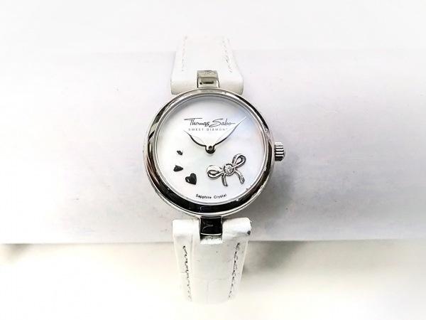 Thomas Sabo(トーマスサボ) 腕時計美品  - レディース 革ベルト/型押し加工/ハート 白
