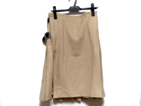 RENA LANGE(レナランゲ) 巻きスカート サイズ40 M レディース ベージュ×黒 プリーツ
