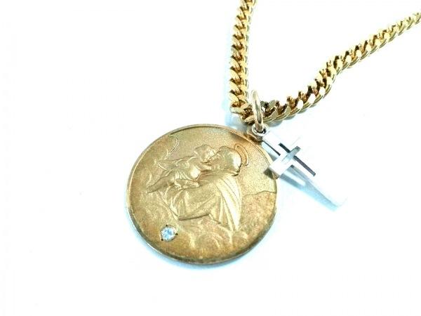 エナソルーナ ネックレス美品  シルバー×ジルコニア ゴールド×クリア クロス
