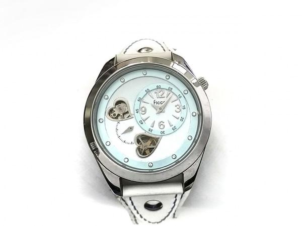 FICCE(フィッチェ) 腕時計 - レディース 革ベルト 白×ライトブルー