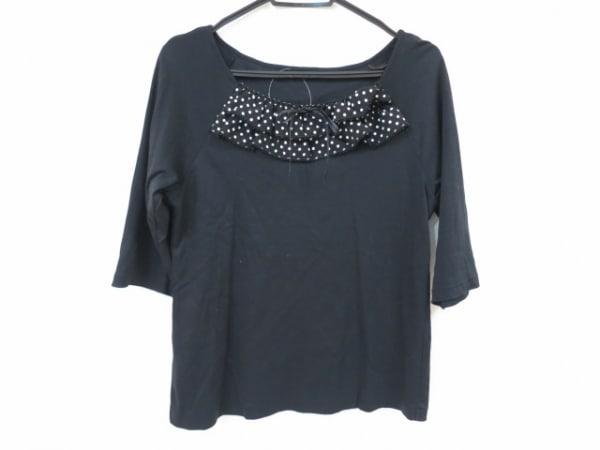 ピンクハウス 七分袖カットソー サイズL レディース美品  黒×白 ドット柄/リボン