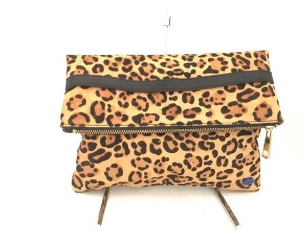 SLY(スライ) クラッチバッグ美品  ライトブラウン×ブラウン×黒 豹柄 ハラコ×レザー