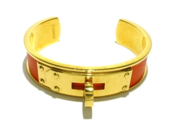 HERMES(エルメス) バングル ケリーバングル レザー×金属素材 オレンジ×ゴールド