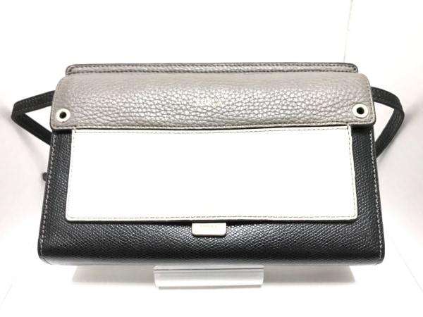 フルラ 財布 ライク ミニ 黒×白×グレー ショルダーウォレット(ストラップ取外し可)