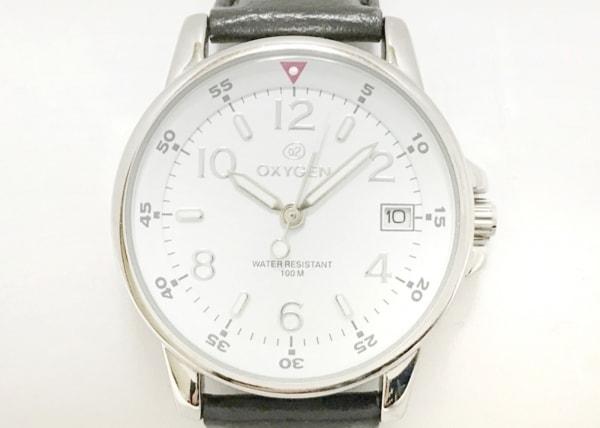 OXYGEN(オキシゲン) 腕時計 LUMINOUS DATE - ボーイズ 革ベルト 白