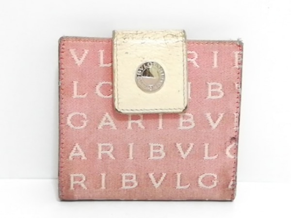 318fa56f9ed8 BVLGARI(ブルガリ) 2つ折り財布 ロゴマニア ピンク×アイボリー(12739900 ...
