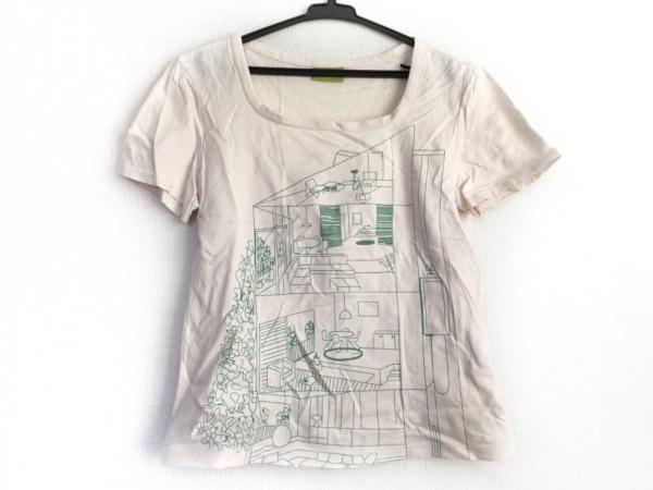 JOCOMOMOLA(ホコモモラ) 半袖Tシャツ サイズ40 XL レディース アイボリー×グリーン