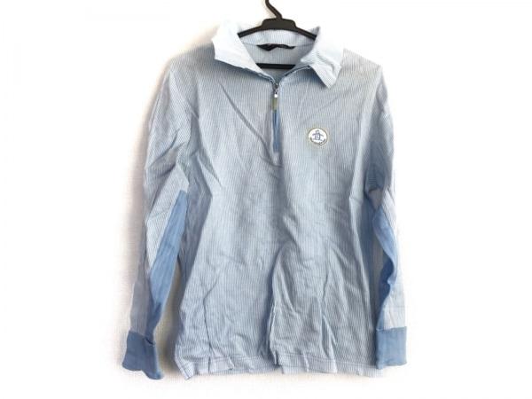 Munsingwear(マンシングウェア) 長袖ポロシャツ サイズL レディース ライトブルー×白