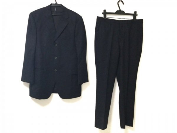 E.Z BY ZEGNA(ゼニア) シングルスーツ メンズ 黒×ブルー ストライプ