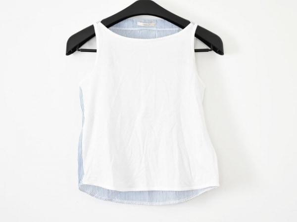 フレイアイディー ノースリーブカットソー サイズF レディース美品  白×ライトブルー