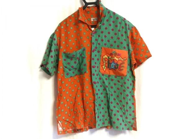 FICCE(フィッチェ) 半袖シャツ サイズM メンズ オレンジ×グリーン×マルチ