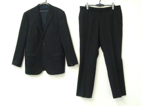 HILTON TIME(ヒルトンタイム) シングルスーツ メンズ 黒×ベージュ ストライプ
