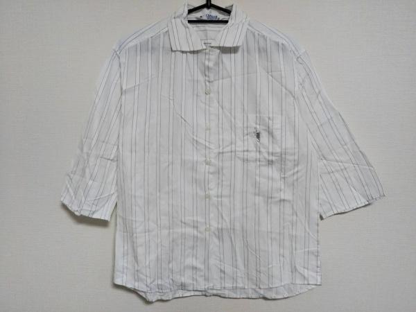 FUKUZO(フクゾー) 七分袖シャツ サイズ38/97 レディース美品  白×黒 ストライプ