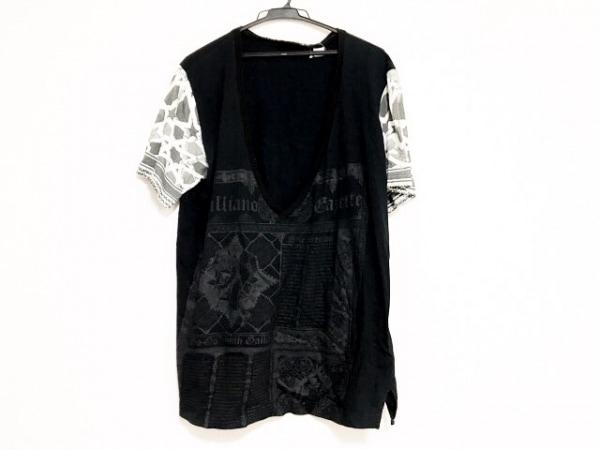 ジョンガリアーノ 半袖カットソー サイズXL メンズ美品  黒×白×ダークグレー