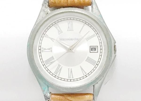Mercedes-Benz(メルセデスベンツ) 腕時計 - メンズ 革ベルト 白×シルバー