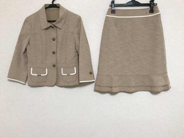 COURREGES(クレージュ) スカートスーツ サイズ40 M レディース ベージュ×白