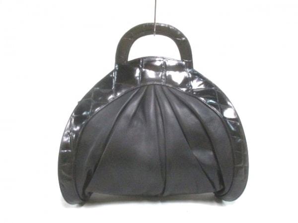 braccialini(ブラッチャリーニ) ハンドバッグ 黒 型押し加工 レザー
