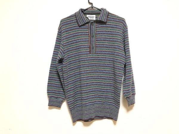 ミッソーニスポーツ 長袖セーター メンズ ブルー×ダークブラウン×マルチ ボーダー
