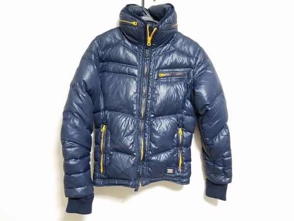 DIESEL(ディーゼル) ダウンジャケット サイズM レディース ネイビー×オレンジ 冬物